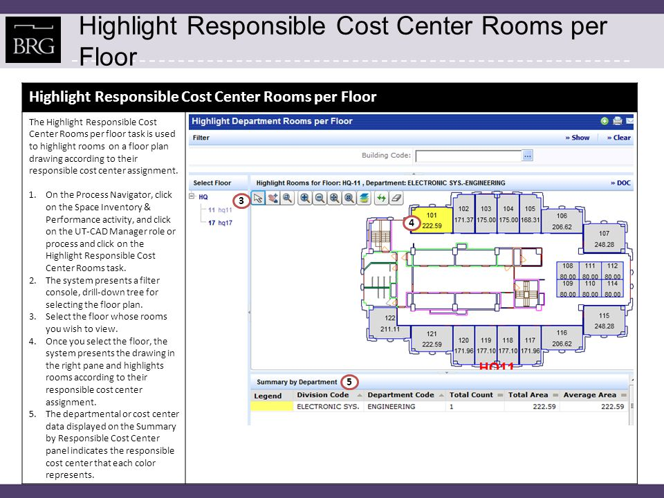 Highlight Responsible Cost Center Rooms per Floor The Highlight Responsible Cost Center Rooms per floor task is used to highlight rooms on a floor plan drawing according to their responsible cost center assignment.