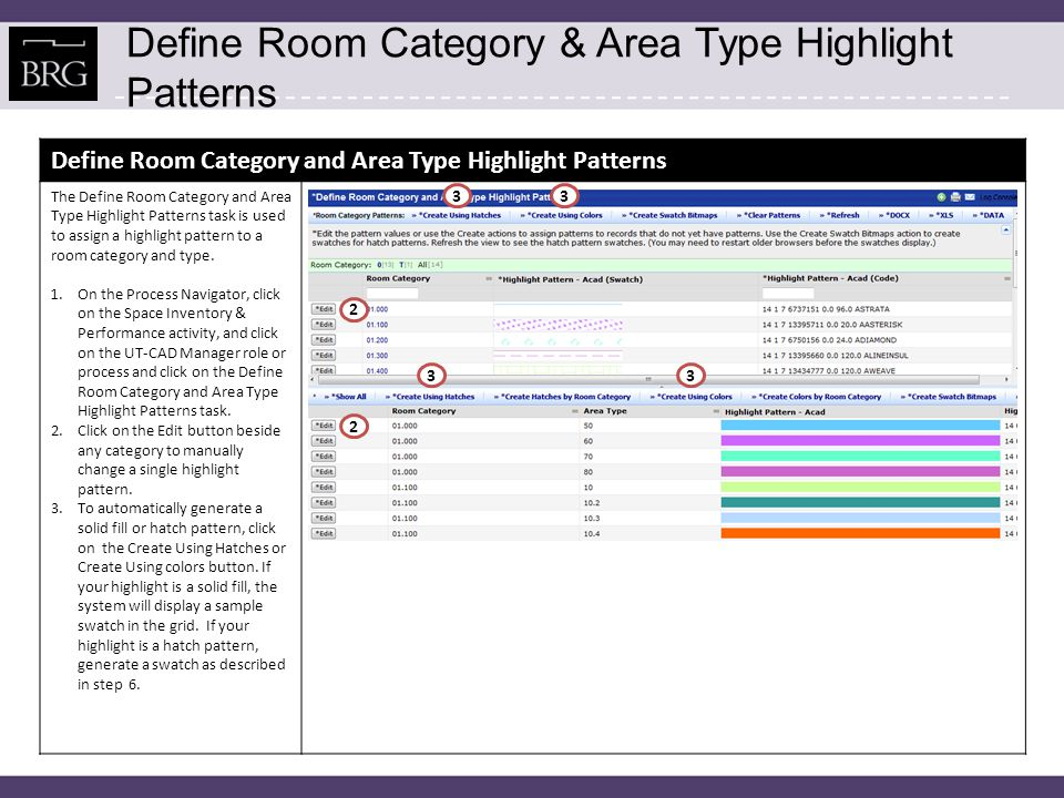 Define Room Category & Area Type Highlight Patterns Define Room Category and Area Type Highlight Patterns 4.To clear all highlight pattern values so that the system will generate values for all records by clicking on the Clear Patterns button.