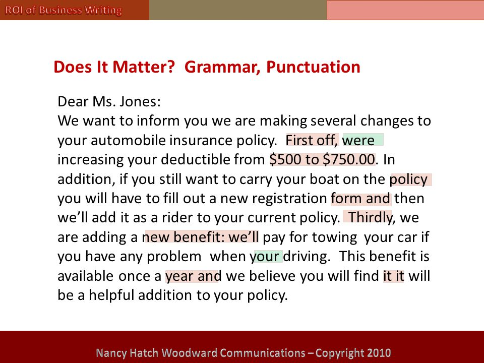 Does It Matter. Grammar, Punctuation Dear Ms.