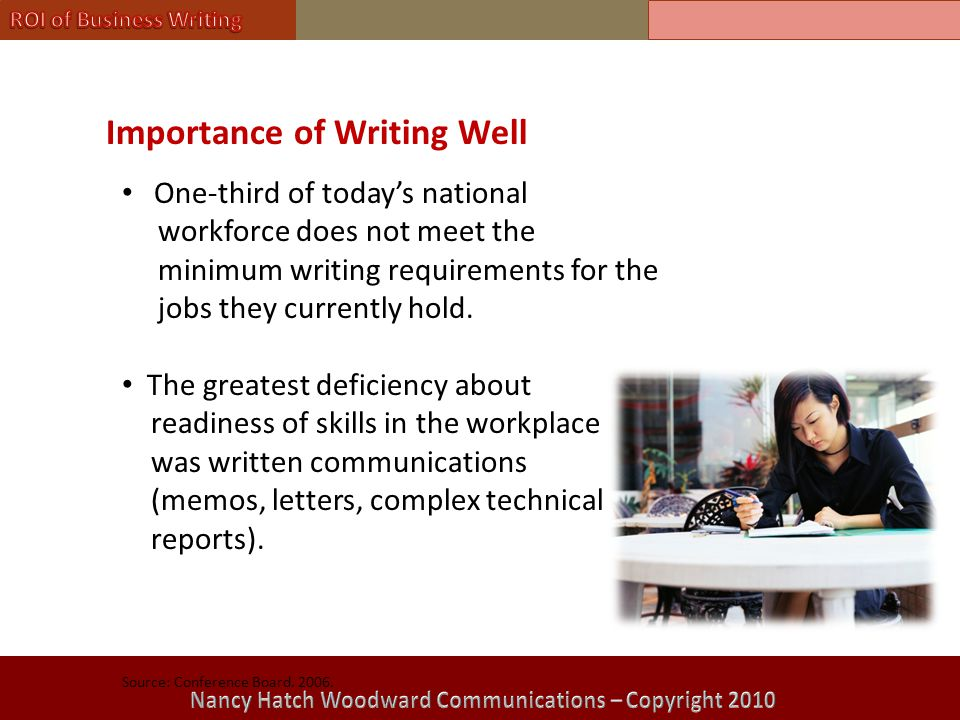 Importance of Writing Well One-third of today's national workforce does not meet the minimum writing requirements for the jobs they currently hold.