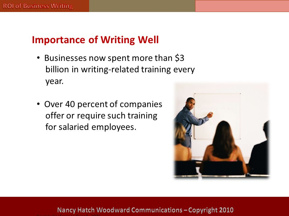 Importance of Writing Well Businesses now spent more than $3 billion in writing-related training every year.