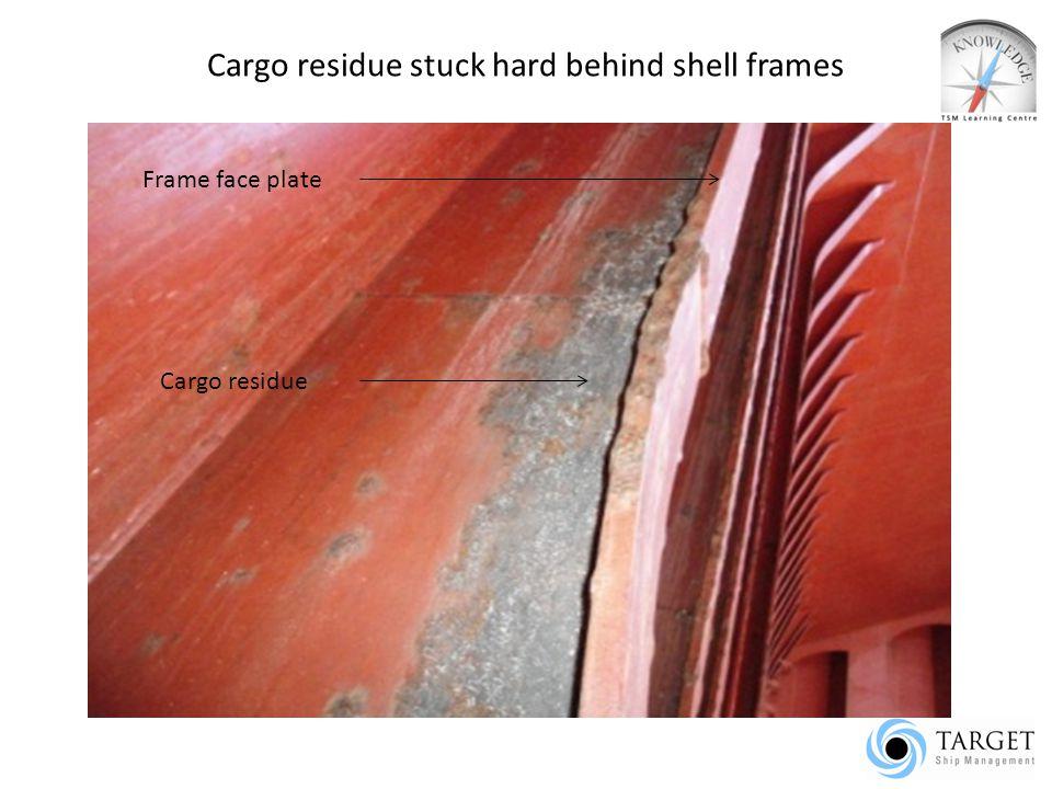 Cargo residue stuck hard behind shell frames Frame face plate Cargo residue