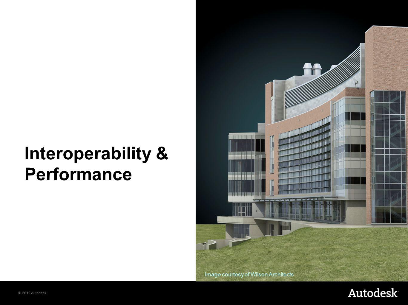 © 2012 Autodesk Interoperability & Performance Image courtesy of Wilson Architects