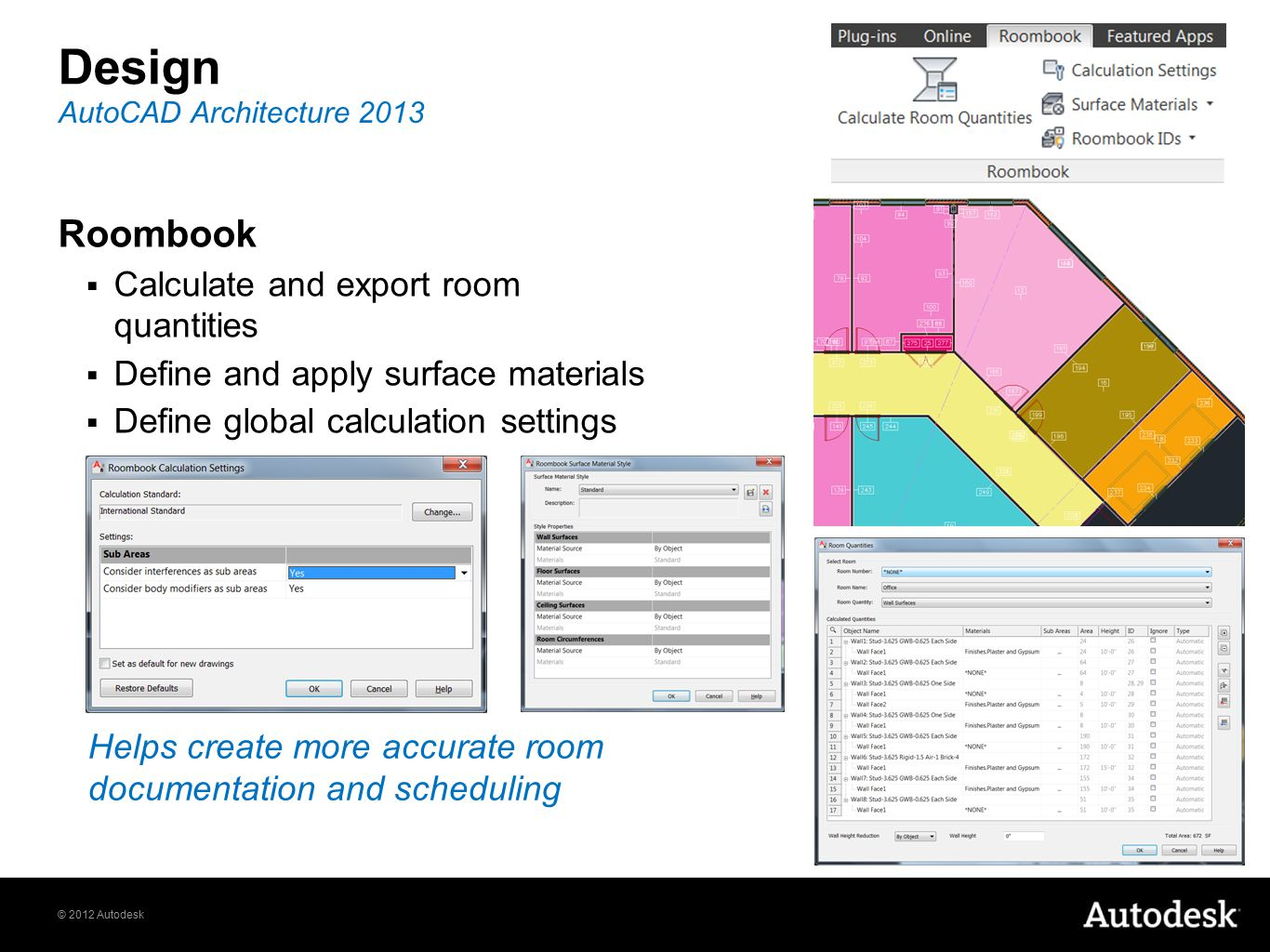 © 2012 Autodesk Design Roombook  Calculate and export room quantities  Define and apply surface materials  Define global calculation settings AutoC