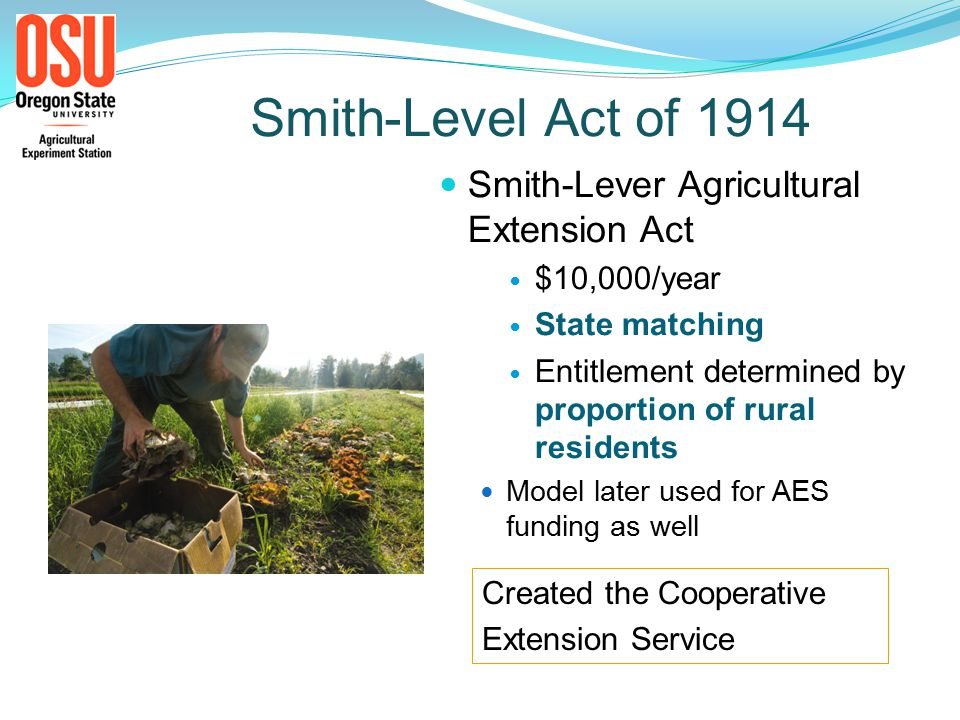 Smith-Level Act of 1914 Smith-Lever Agricultural Extension Act $10,000/year State matching Entitlement determined by proportion of rural residents Model later used for AES funding as well Created the Cooperative Extension Service