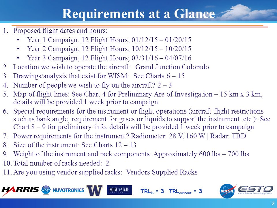 Requirements at a Glance TRL in = 3 TRL current = 3 1.Proposed flight dates and hours: Year 1 Campaign, 12 Flight Hours; 01/12/15 – 01/20/15 Year 2 Campaign, 12 Flight Hours; 10/12/15 – 10/20/15 Year 3 Campaign, 12 Flight Hours; 03/31/16 – 04/07/16 2.Location we wish to operate the aircraft: Grand Junction Colorado 3.Drawings/analysis that exist for WISM: See Charts 6 – 15 4.Number of people we wish to fly on the aircraft.
