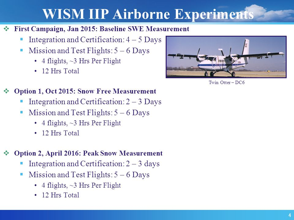 WISM IIP Airborne Experiments  First Campaign, Jan 2015: Baseline SWE Measurement  Integration and Certification: 4 – 5 Days  Mission and Test Flights: 5 – 6 Days 4 flights, ~3 Hrs Per Flight 12 Hrs Total  Option 1, Oct 2015: Snow Free Measurement  Integration and Certification: 2 – 3 Days  Mission and Test Flights: 5 – 6 Days 4 flights, ~3 Hrs Per Flight 12 Hrs Total  Option 2, April 2016: Peak Snow Measurement  Integration and Certification: 2 – 3 days  Mission and Test Flights: 5 – 6 Days 4 flights, ~3 Hrs Per Flight 12 Hrs Total Twin Otter – DC6 4