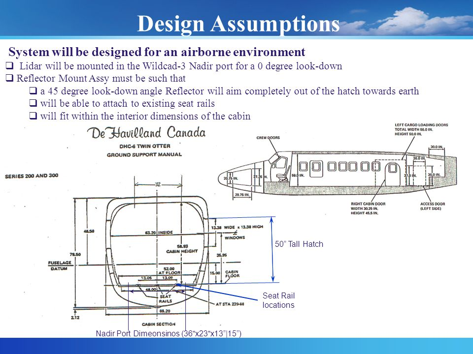Design Assumptions System will be designed for an airborne environment  Lidar will be mounted in the Wildcad-3 Nadir port for a 0 degree look-down  Reflector Mount Assy must be such that  a 45 degree look-down angle Reflector will aim completely out of the hatch towards earth  will be able to attach to existing seat rails  will fit within the interior dimensions of the cabin Seat Rail locations 50 Tall Hatch Nadir Port Dimeonsinos (36 x23 x13 |15 )