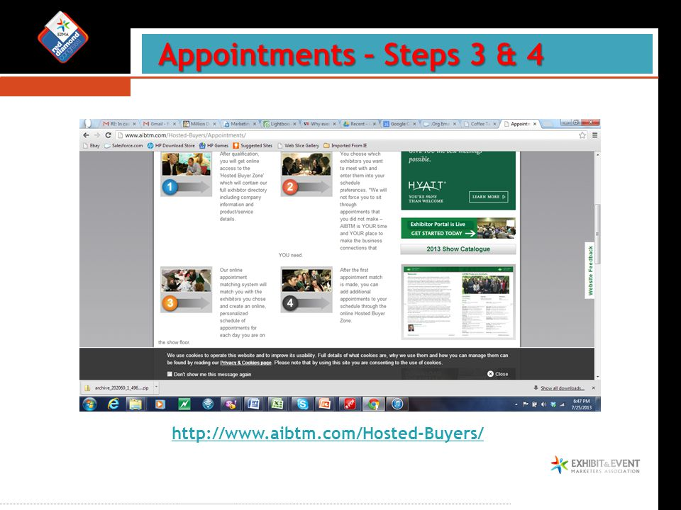 Appointments – Steps 3 & 4 Appointments – Steps 3 & 4 http://www.aibtm.com/Hosted-Buyers/