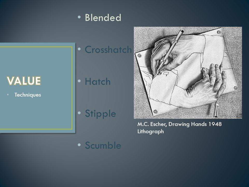 Techniques Blended Crosshatch Hatch Stipple Scumble M.C. Escher, Drawing Hands 1948 Lithograph
