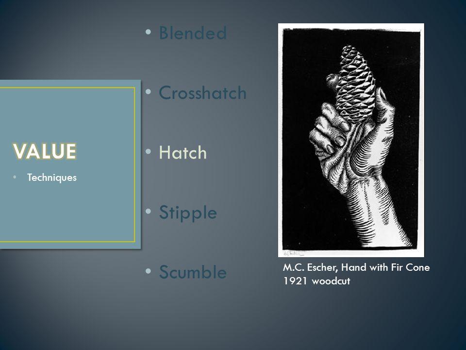 Techniques Blended Crosshatch Hatch Stipple Scumble M.C. Escher, Hand with Fir Cone 1921 woodcut