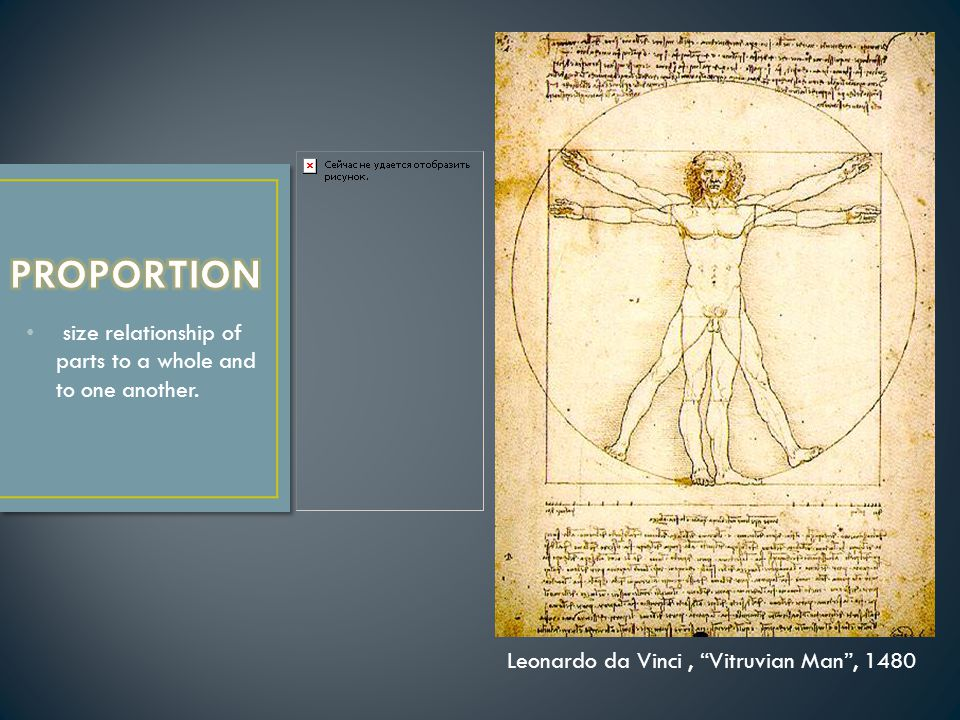 size relationship of parts to a whole and to one another. Leonardo da Vinci, Vitruvian Man , 1480