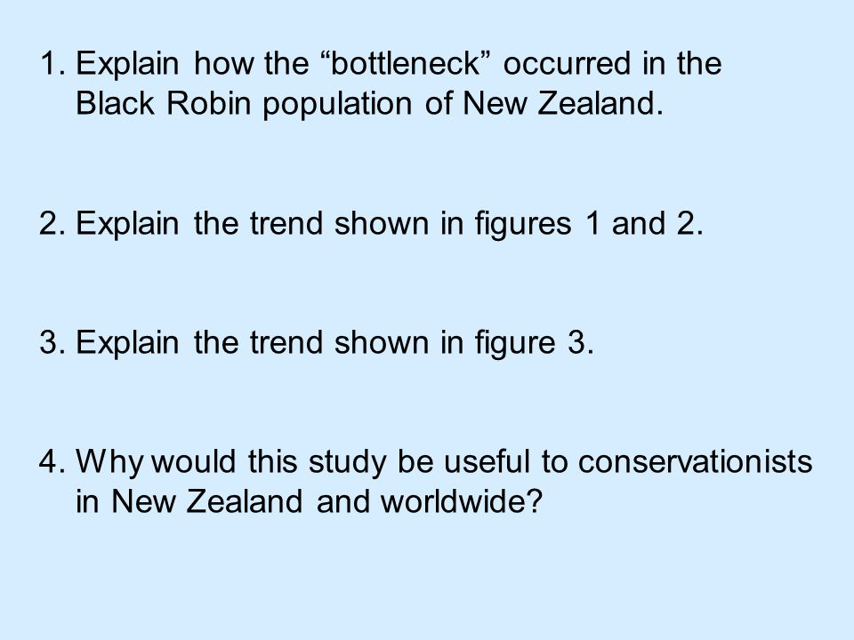 1. Explain how the bottleneck occurred in the Black Robin population of New Zealand.