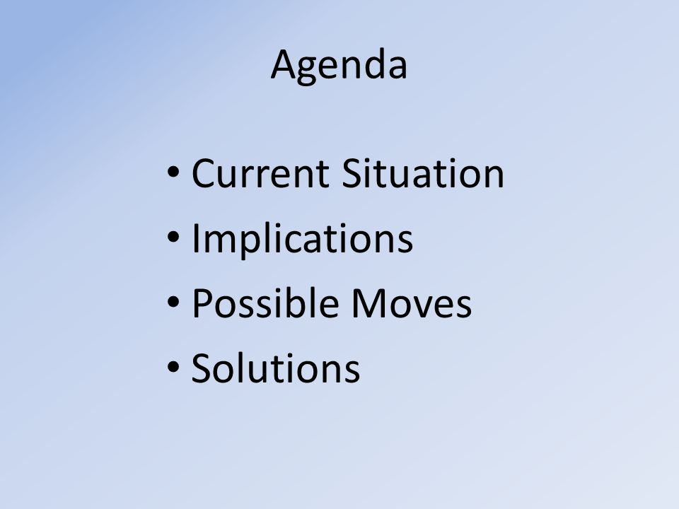 Agenda Current Situation Implications Possible Moves Solutions
