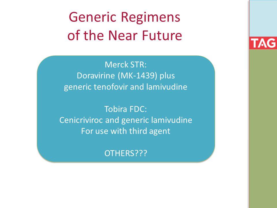 Generic Regimens of the Near Future Merck STR: Doravirine (MK-1439) plus generic tenofovir and lamivudine Tobira FDC: Cenicriviroc and generic lamivud