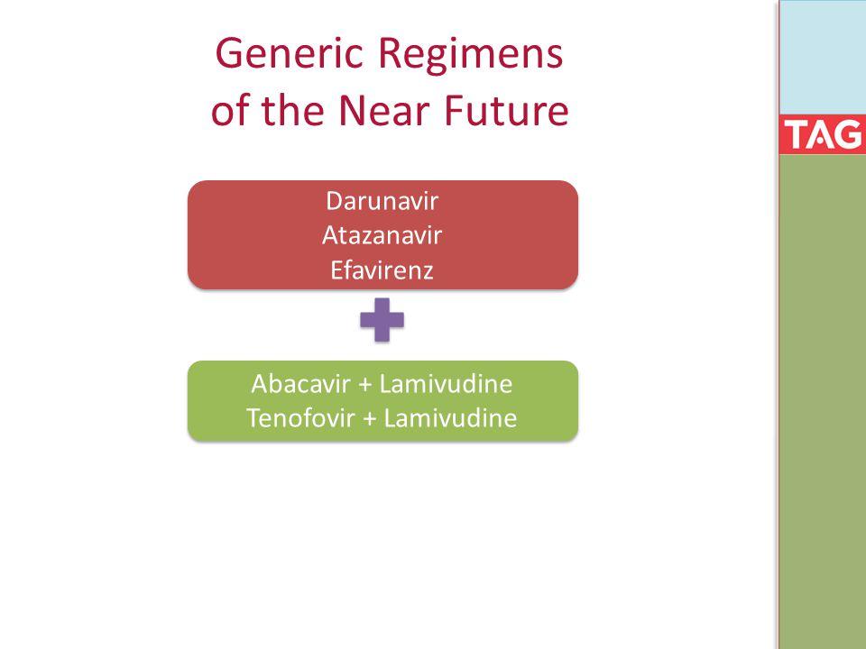 Generic Regimens of the Near Future Darunavir Atazanavir Efavirenz Abacavir + Lamivudine Tenofovir + Lamivudine
