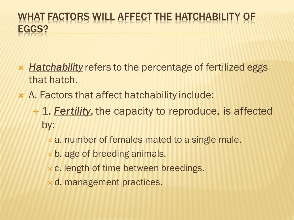  Hatchability refers to the percentage of fertilized eggs that hatch.