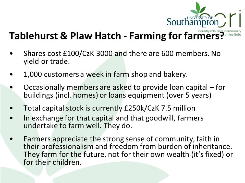 Tablehurst & Plaw Hatch - Farming for farmers? Shares cost £100/CzK 3000 and there are 600 members. No yield or trade. 1,000 customers a week in farm