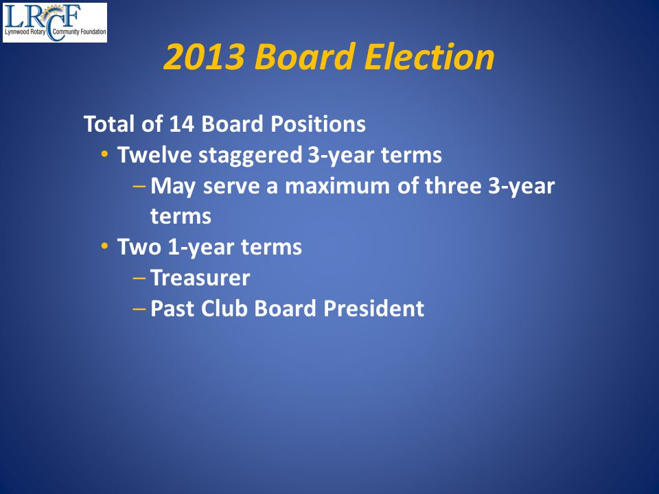 2013 Board Election Total of 14 Board Positions Twelve staggered 3-year terms –May serve a maximum of three 3-year terms Two 1-year terms –Treasurer –Past Club Board President