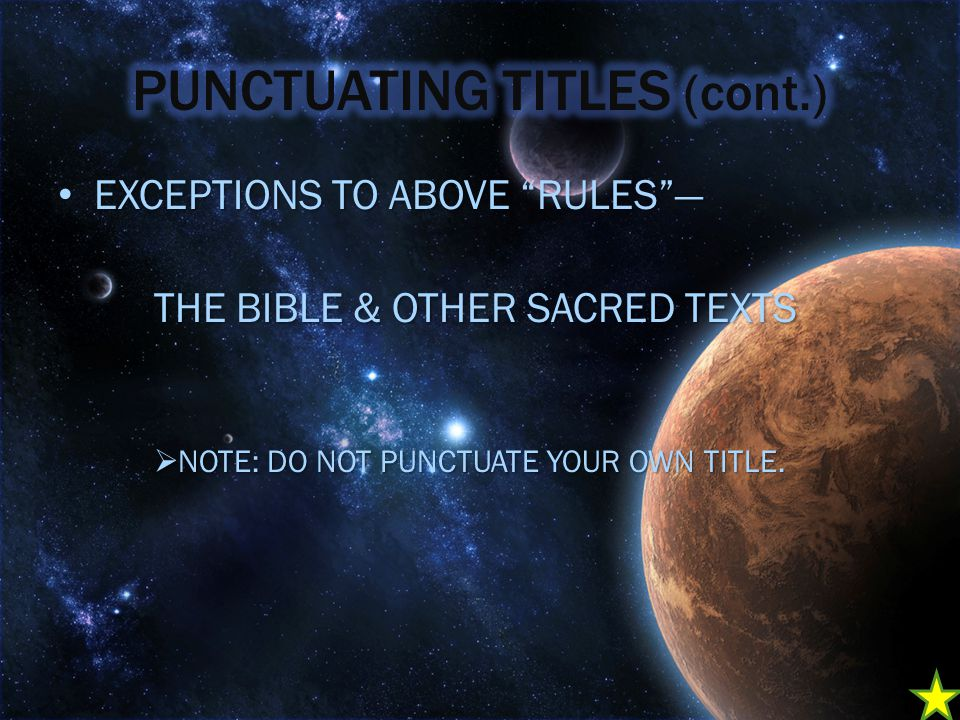 EXCEPTIONS TO ABOVE RULES — EXCEPTIONS TO ABOVE RULES — THE BIBLE & OTHER SACRED TEXTS  NOTE: DO NOT PUNCTUATE YOUR OWN TITLE.