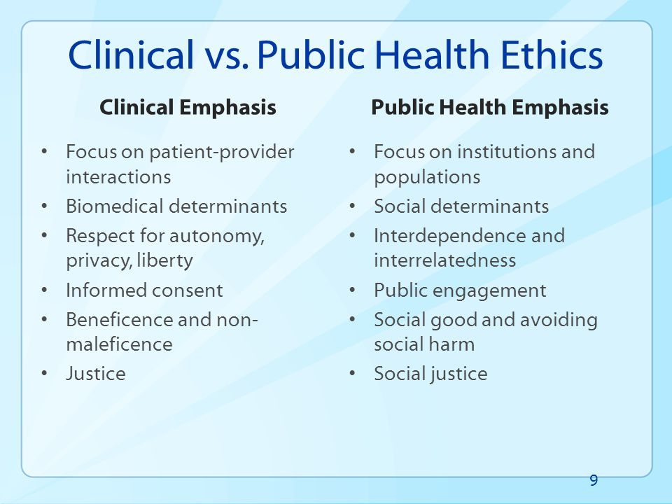 Focus of Activities Development of ethics guidance on specific program areas Development of capacity of CDC staff to address ethical issues – Training – Center level public health ethics teams – Consultation procedures – Support of state and local health departments