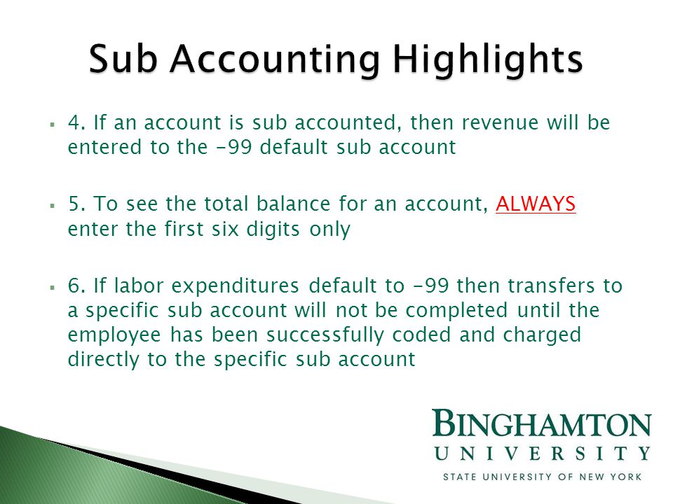  4. If an account is sub accounted, then revenue will be entered to the -99 default sub account  5. To see the total balance for an account, ALWAYS