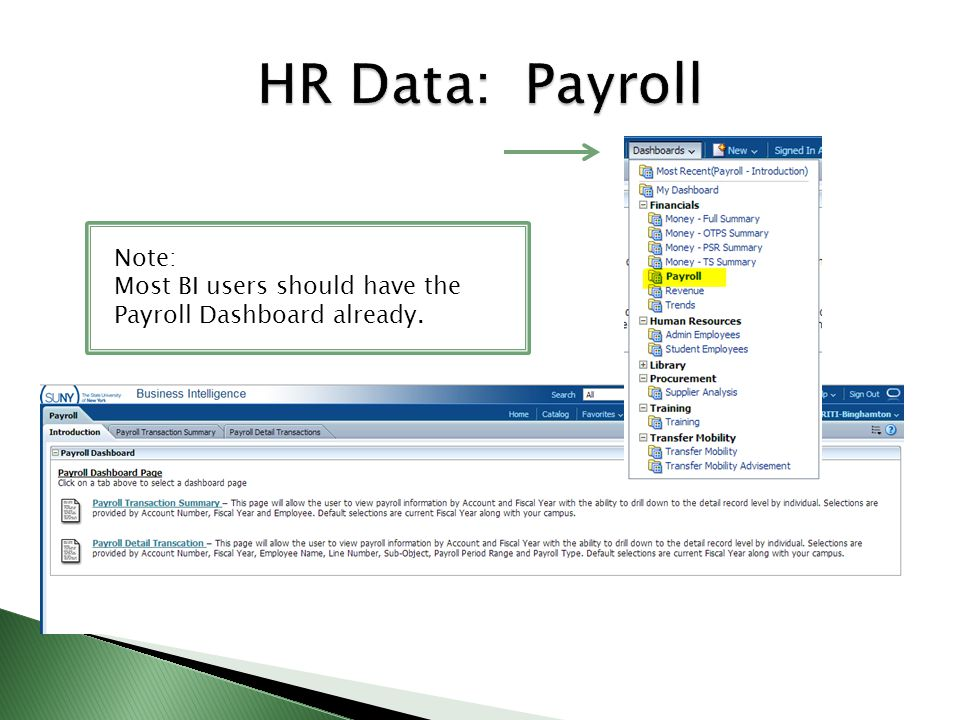 Note: Most BI users should have the Payroll Dashboard already.