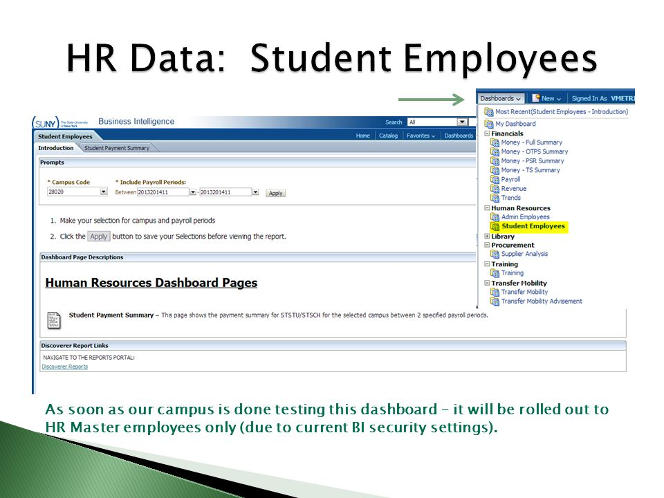 As soon as our campus is done testing this dashboard – it will be rolled out to HR Master employees only (due to current BI security settings).