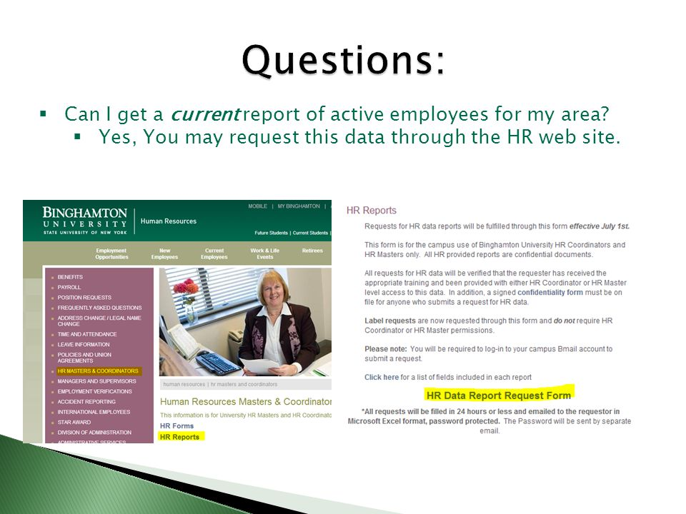  Can I get a current report of active employees for my area.