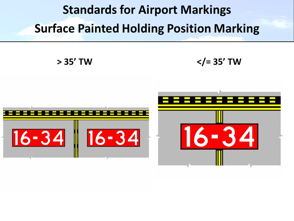 Standards for Airport Markings Surface Painted Holding Position Marking > 35' TW</= 35' TW