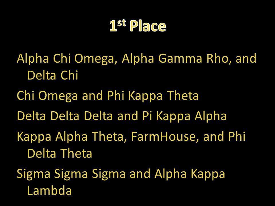 Alpha Chi Omega, Alpha Gamma Rho, and Delta Chi Chi Omega and Phi Kappa Theta Delta Delta Delta and Pi Kappa Alpha Kappa Alpha Theta, FarmHouse, and P