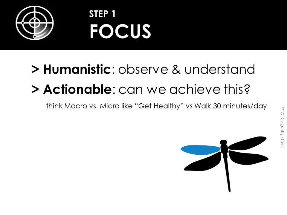 > Humanistic : observe & understand > Actionable : can we achieve this.