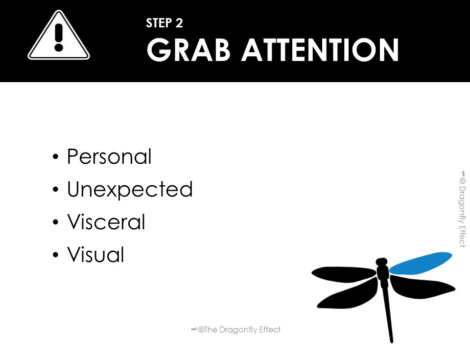 Personal Unexpected Visceral Visual STEP 2 GRAB ATTENTION ©The Dragonfly Effect © Dragonfly Effect