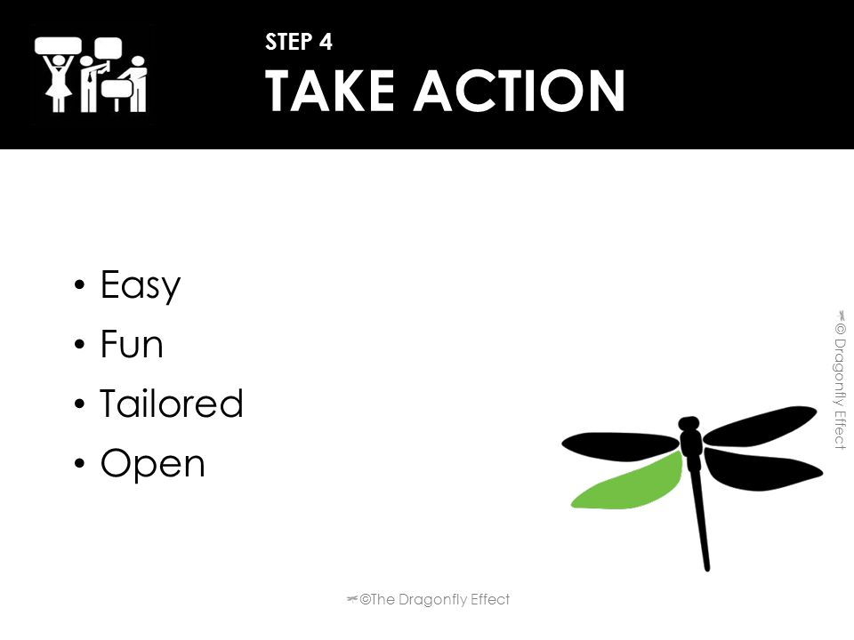 Easy Fun Tailored Open STEP 4 TAKE ACTION ©The Dragonfly Effect © Dragonfly Effect