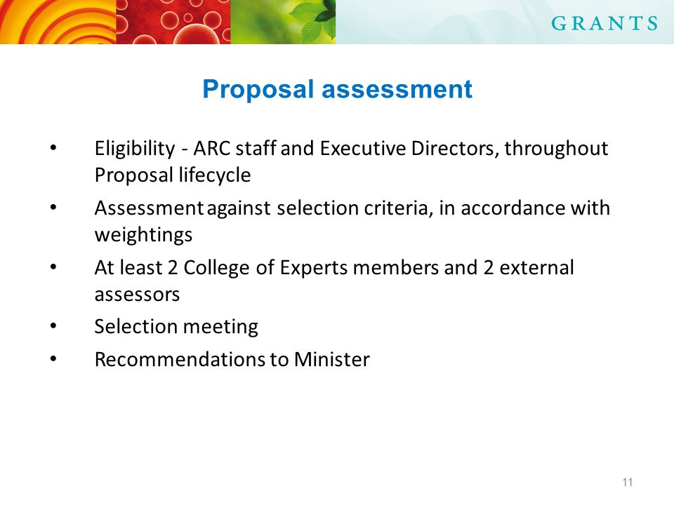 Proposal assessment Eligibility - ARC staff and Executive Directors, throughout Proposal lifecycle Assessment against selection criteria, in accordance with weightings At least 2 College of Experts members and 2 external assessors Selection meeting Recommendations to Minister 11