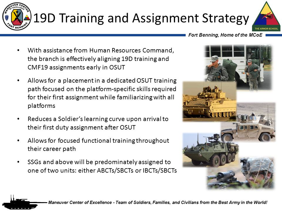 Fort Benning, Home of the MCoE Maneuver Center of Excellence - Team of Soldiers, Families, and Civilians from the Best Army in the World! 19D Training