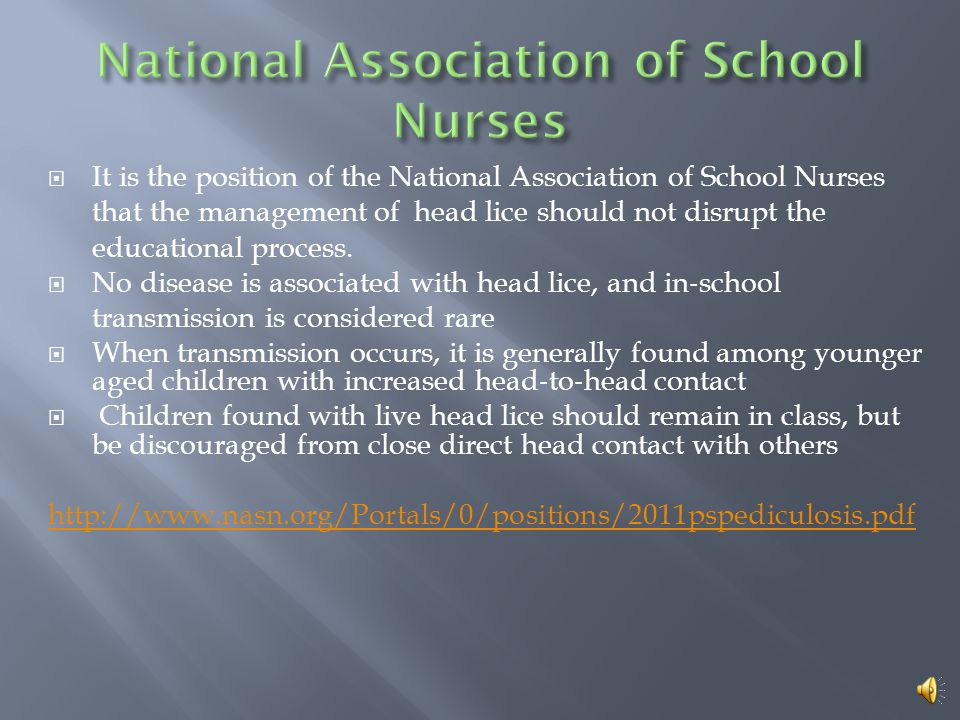  It is the position of the National Association of School Nurses that the management of head lice should not disrupt the educational process.  No di