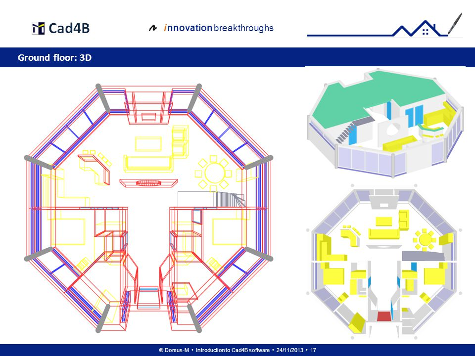 © Domus-M Introduction to Cad4B software 24/11/2013 17 i nnovation breakthroughs Ground floor: 3D
