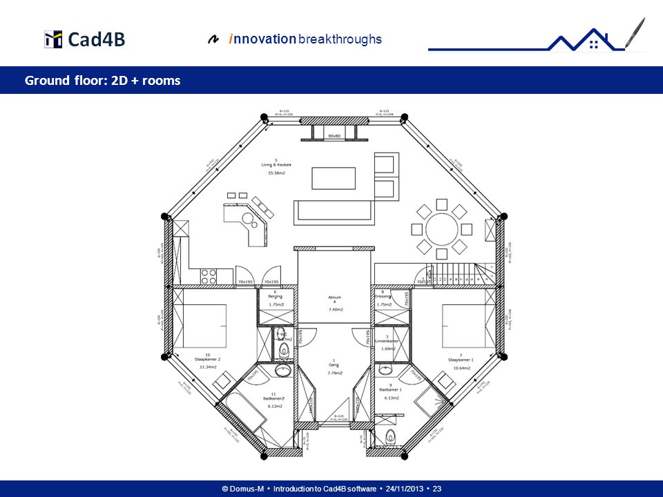 © Domus-M Introduction to Cad4B software 24/11/2013 23 i nnovation breakthroughs Ground floor: 2D + rooms