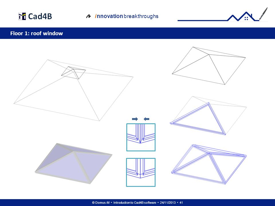© Domus-M Introduction to Cad4B software 24/11/2013 41 i nnovation breakthroughs Floor 1: roof window