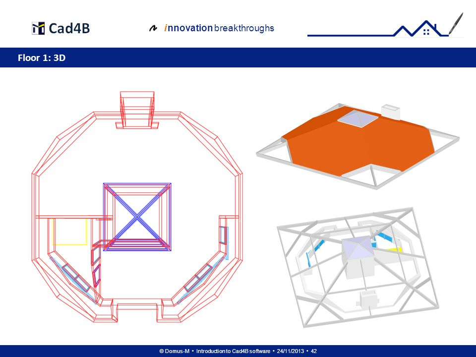 © Domus-M Introduction to Cad4B software 24/11/2013 42 i nnovation breakthroughs Floor 1: 3D