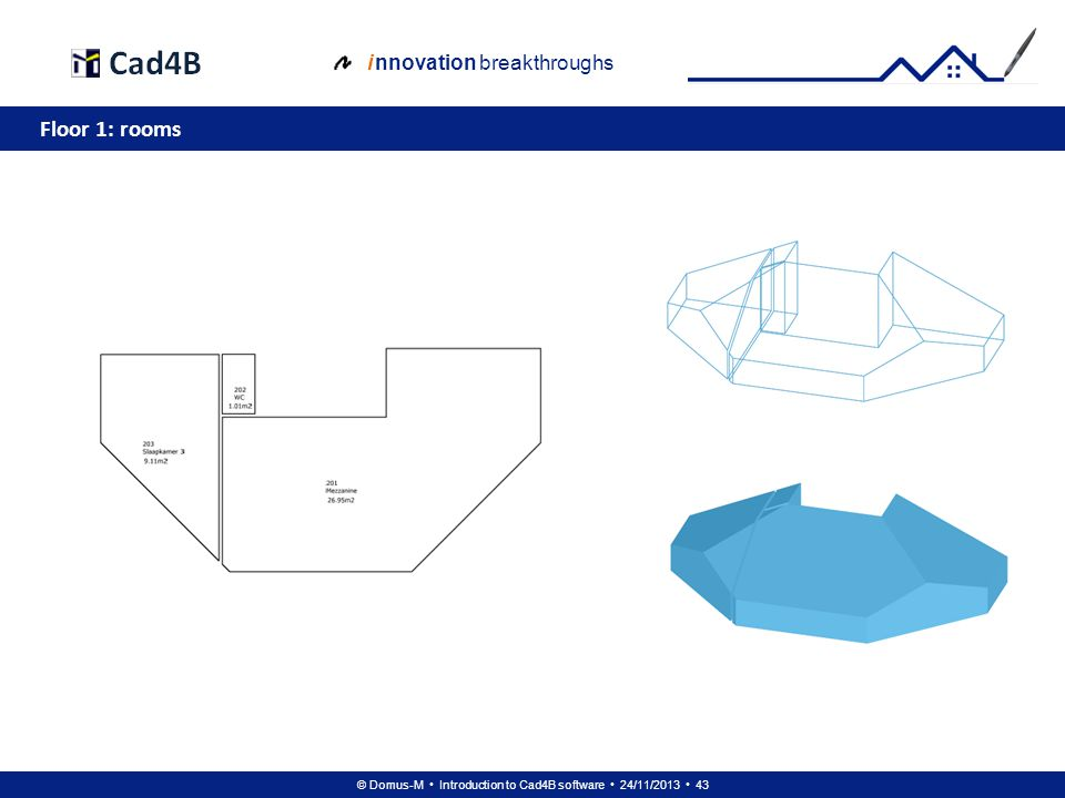 © Domus-M Introduction to Cad4B software 24/11/2013 43 i nnovation breakthroughs Floor 1: rooms