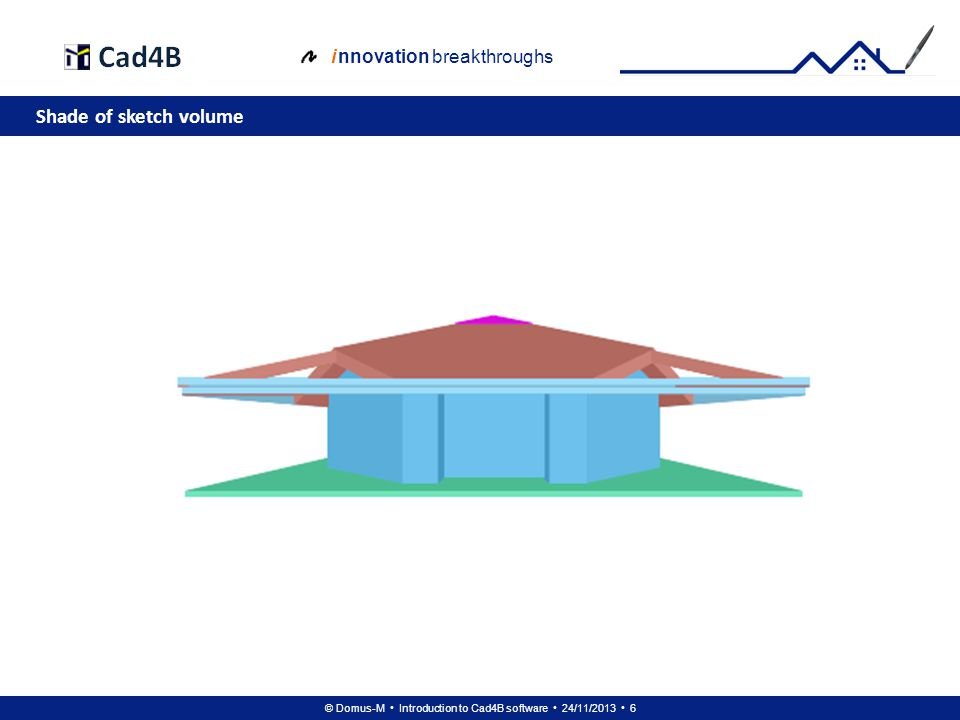 © Domus-M Introduction to Cad4B software 24/11/2013 27 i nnovation breakthroughs Floor 1: projection of walls against roof