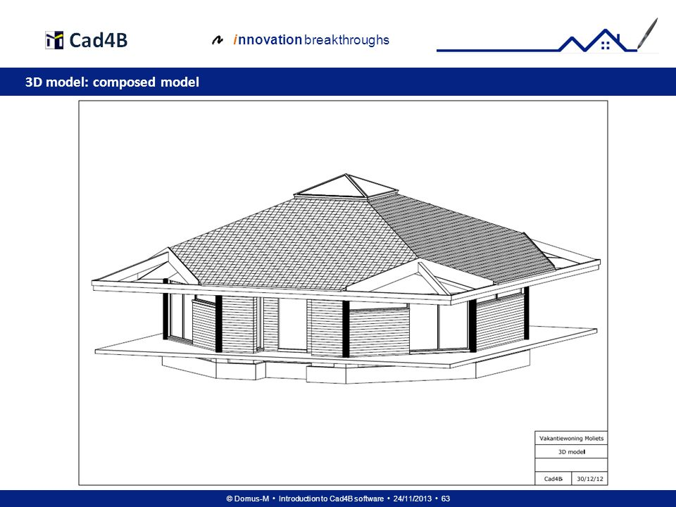 © Domus-M Introduction to Cad4B software 24/11/2013 63 i nnovation breakthroughs 3D model: composed model