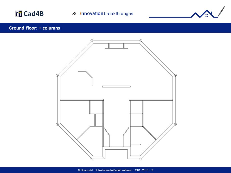 © Domus-M Introduction to Cad4B software 24/11/2013 30 i nnovation breakthroughs Floor 1: + doors