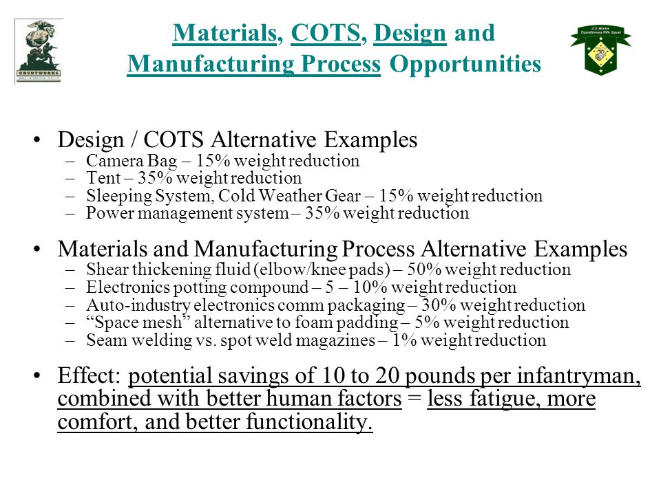 Materials, COTS, Design and Manufacturing Process Opportunities Design / COTS Alternative Examples –Camera Bag – 15% weight reduction –Tent – 35% weight reduction –Sleeping System, Cold Weather Gear – 15% weight reduction –Power management system – 35% weight reduction Materials and Manufacturing Process Alternative Examples –Shear thickening fluid (elbow/knee pads) – 50% weight reduction –Electronics potting compound – 5 – 10% weight reduction –Auto-industry electronics comm packaging – 30% weight reduction – Space mesh alternative to foam padding – 5% weight reduction –Seam welding vs.