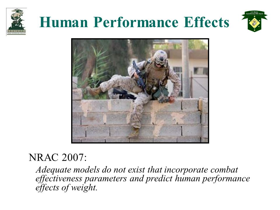Human Performance Effects NRAC 2007: Adequate models do not exist that incorporate combat effectiveness parameters and predict human performance effects of weight.