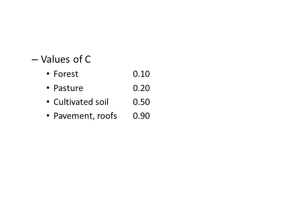 – Values of C Forest0.10 Pasture0.20 Cultivated soil0.50 Pavement, roofs0.90