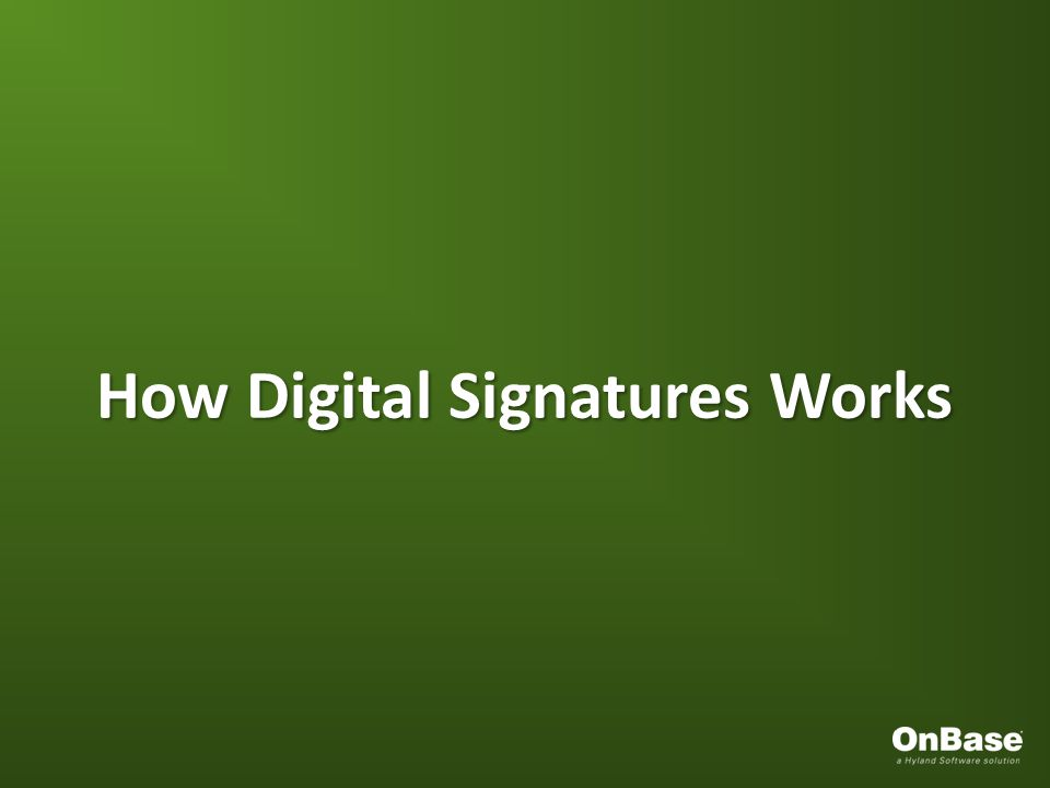 How Digital Signatures Works