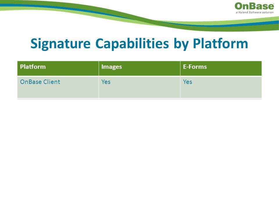 PRODUCTVIEW Signature Capabilities by Platform PlatformImagesE-Forms OnBase ClientYes Web ClientYesNo Desktop ClientNoYes Unity ClientNo